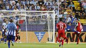 MALAGA, SPAIN. 19/09/2010. Eliseu the Malaga midfielder attempts an overhead kick at goal during the La Liga match between CF Malaga and Sevilla, played in the La Rosaleda Stadium