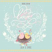 Romantic wedding invitation design with birds in nest, flowers. Beautiful love postcard in blue color.