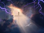 foto of sun god  - Lightning Strikes while cross is revealed in sunlight streaming - JPG