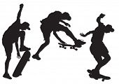 Vector drawing athletes on a skateboard. Property release is attached to the file