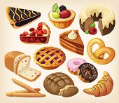 stock photo of croissant  - Set of pies and flour products from bakery or pastry shop - JPG