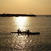 couple paddle together in summertime evening sea