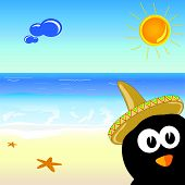 Penguin On The Paradise Beach Vector Illustration