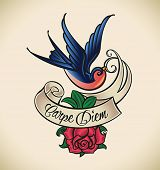 Old-school styled tattoo with a swallow, banner and rose. Editable vector illustration.