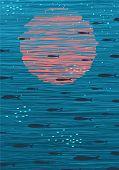 Pink Sunset and Fish Underwater Cartoon Background
