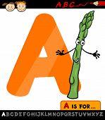 Letter A With Asparagus Cartoon Illustration