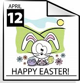 Vector Easter Calendar Page