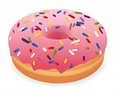 stock photo of donut  - Sweet pink donut  - JPG
