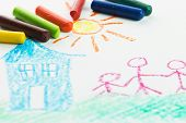 pic of arts crafts  - Kid drawing family near their house picture using crayons - JPG