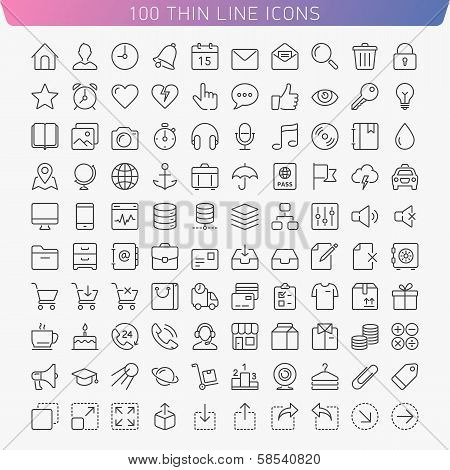 Thin line icons. poster