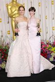 Jennifer Lawrence and Anne Hathaway at the 85th Annual Academy Awards Press Room, Dolby Theater, Hollywood, CA 02-24-13