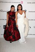 Kourtney Kardashian, Kim Kardashian at the Elton John Aids Foundation 21st Academy Awards Viewing Party, West Hollywood Park, West Hollywood, CA 02-24-13