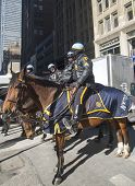 NYPD police officers on horseback ready to protect public on Broadway during Super Bowl XLVIII week