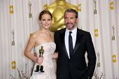 Jennifer Lawrence and Jean Dujardin at the 85th Annual Academy Awards Press Room, Dolby Theater, Hol