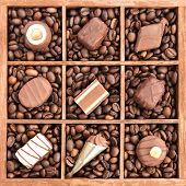 Assorted chocolates on coffee beans