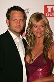 HOLLYWOOD - AUGUST 27: Nancy O'dell and husband Keith at the TV Guide Emmy After Party at Social Aug