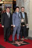 Sam Raimi, James Franco, Seth Rogen at the James Franco Star on the Walk of Fame Ceremony, Hollywood, CA 03-07-13