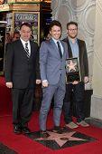 Sam Raimi, James Franco, Seth Rogen at the James Franco Star on the Walk of Fame Ceremony, Hollywood, CA 03-07-13