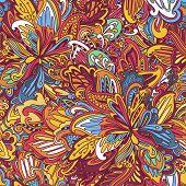 Ornamental floral seamless pattern.  rainbow floral pattern