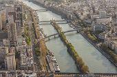Aerial View From Eiffel Tower On Seine River - Paris.