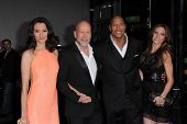 Emma Heming, Bruce Willis, Dwayne Johnson, Lauren Hashian at the