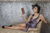 Beauty Brunette Model Reading Book