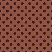 Seamless dark vector pattern or texture with dark brown polka dots on chocolate brown background