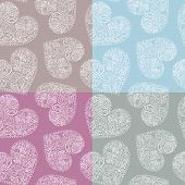 set of 4 pastel seamless patterns with ornate hearts