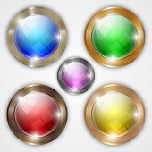 Vector set of glossy colorful round buttons with metallic frame