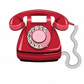Telephone Red, Vector Old Rotary Phone