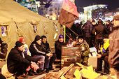 Kiev (kyiv), Ukraine - December 4, 2013: Euromaidan Protesters Rest. Unidentified People Taking Part