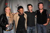 Shakira, Usher, Adam Levine, Blake Shelton at The Voice Season 4 Red Carpet, House Of Blues, West Hollywood, CA 05-08-13
