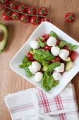 Salad from tomatoes, mozzarella, basil