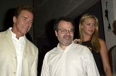 Arnold Schwarzenegger, Director Jonathan Mostow and Kristanna Loken at the Los Angeles Comic Book and Science Fiction Convention in Shrine Auditorium, Los Angeles, CA 06-08-03