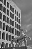 EUR, Squared Colosseum building in Rome, Italy