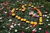 Orange heart on pine needles scattered with rose petals