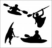 image of kayak  - Black silhouette of a man in a kayak moving down the river - JPG