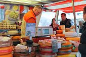 Selling Cheese On The Market In Delft, Netherlands
