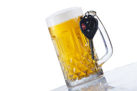 pic of underage  - Concept of Drinking and Driving beer and car keys - JPG