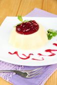 image of panna  - Panna Cotta with raspberry sauce - JPG