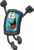 Happy cartoon smart phone. Vector clip art illustration with simple gradients. All in a single layer.
