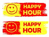 Happy Hour With Smile Sign, Yellow And Red Drawn Labels