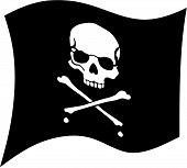 stock photo of pirate flag  - crossbones and skul on black flag - JPG