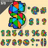 Festive Carnival Font. Multicolored Vector Alphabet. Sticker style Set 2
