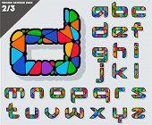 Festive Carnival Font. Multicolored Vector Alphabet. Style techno Set 2