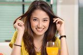 Asian Young Women Cute Woman Drinking Orange Juice