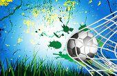 Soccer Ball on Grass background in goal net