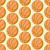 Sketch Basketball Ball, Vector Seamless Pattern