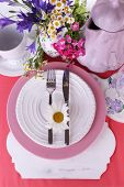 Pink table setting close-up
