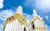White Buddhism  Church Temple  With Nice Beautiful Sky In Bangkok Thailand